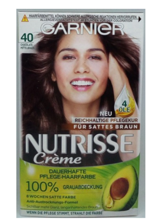 Garnier Nutrisse Creme Coloration Chocolate Mittelbraun 40 Färbung für Haare für permanente Haarfarbe farba średni brąz nr 40