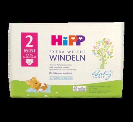 Hipp Babysanft Windeln Gr. 2 Mini, 31 szt. 3-6 kg jednorazowe pieluszki dla dzieci