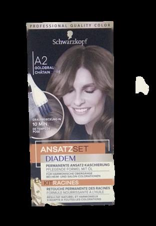 Schwarzkopf Diadem Ansatzset Goldbraun farba na odrosty złoty brąz nr A2